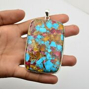 Copper Turquoise Gemstone Pendant 925 Sterling Silver Jewelry For Girls Kb15546