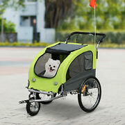 Pet Trailer W/ Suspension Safety Leash Mesh Door 360 Swivel For Small Animals