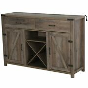 Wooden Sideboard Storage Buffet Cabinet With 2 Large Drawers X-shaped Wine Rack