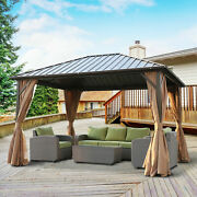12and039 X 10and039 Backyard Steel Hardtop Aluminum Frame Gazebo With Screened Curtain