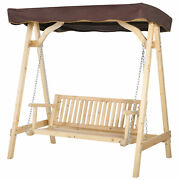 Outside Backyard Patio Wooden Swing Bench Chair Adjustable Canopy Seat Durable