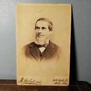 1870s-80s Cabinet Card Portrait Photo Of Handsome Man W/ Beard From Baltimore Md