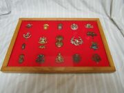 British Military Hat Badges Lot Of 18 Pins With Display Case