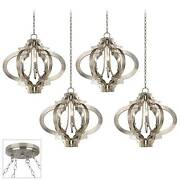Aged Silver Swag Pendant Chandelier 4-light Fixture For Dining Room House Foyer