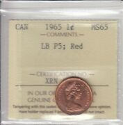 1965 Canada 1 Cent Iccs Ms-65 Large Beads Pointed 5 Red Certxrn477