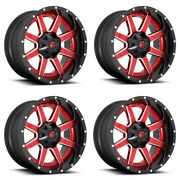 Set 4 20 Fuel D250 Maverick Gloss Red Wheels 20x10 8x170 -19mm For Ford Truck