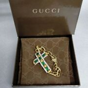 Authentic Green Crystal Cross Chain Bracelet Gold Vintage Unused W/box F/s