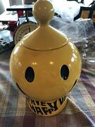 Vintage Mccoy Smiley Face Cookie Jar Usa Pottery Have A Happy Day W/ Lid 12andrdquo
