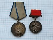 Soviet Ussr Medals For Military Merit № 61821courage Bravery №1432650silver