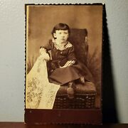 Antique Victorian Cabinet Card Photo Of Young Girl Sitting In Chair W/ Cat 1880s