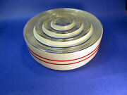 Vintage Deco Light Fixture Globe Red Ring Kitchen Ceiling Mid Century
