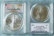 2021 1 American Eagle T-2 Pcgs Ms70 First Strike Emily Damstra Signed Pre Sale