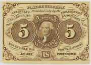 1862-1863 Fractional 5 Cent Currency Note 1st Issue Choice Au Fr-1230