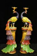 41 Cm China Cloisonne Candlestick Animal Peacock Old Brass Candlestick