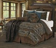 Hiend Accents Rio Grande Southwestern 7-pc Faux Leather Duvet Cover Bed Set Full