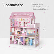 Pink Large Wooden Dollhouse Barbie Doll House W/furniture Kid Pretend Play Home