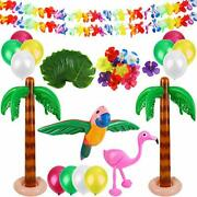 Hawaiian Party Toys 20 Pack Inflatable Beach Balls 12 Pack Palm Leaves 12