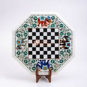 White Top Chess Inlaid Table With Wooden Stand Decorative Chess Indoor Game Deco