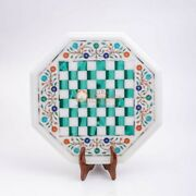 Marble White Top Chess Indoor Game Table With Stand Malachite Inlaid Mosaic Deco