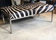 An Amazing And Handmade Solid Zebra Hide Bench Ottoman With A Sleek Chrome Frame