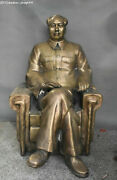 30 Old Chinese Bronze People Chairman Great Man Mao Zedong Seat Chair Statue