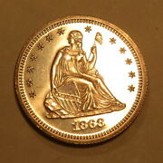 1868 Proof Silver Seated Liberty Quarter Dollar