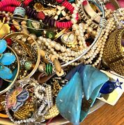 Vintage To Modern Mixed Jewelry Lot. 13 Lbs. Arts Craft Junk Wearable Repair.
