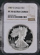 Pf70 Ucam 1987-s American Silver Eagle - Brown Label Ngc Spot Free White
