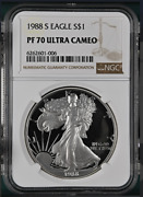 Pf70 Ucam 1988-s American Silver Eagle - Brown Label Ngc Spot Free White