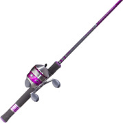 33 Spincast Reel And 2 Pieces Fishing Rod Combo With Comfortable Eva Handle Pink