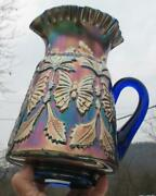 Fenton  Butterfly And Fern  Royal Blue Carnival Glass Water Pitcher
