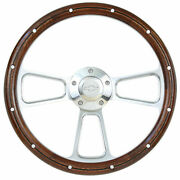1974-1994 Chevy Pick Up Truck 14 Billet And Mahogany Steering Wheel + Adapter Kit