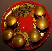 Vintage Russian Khokhloma Hand Painted Fol Wood Set 6 Goblets And Tray