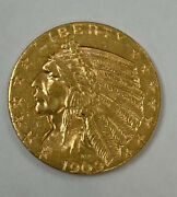 1909-d Gold United States 5 Dollar Indian Head Half Eagle Coin