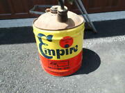 Wolfand039s Head Oil Empire 5 Gallon Oil Can Very Nice Shape Wood Handle Oil City Pa.