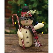 Top Hat Snowman Fabric Doll Plaid Scarf Candy Cane Country Christmas Farmhouse