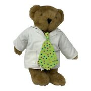 """Vermont Teddy Bear Brown Jointed Plush Bear 15"""" W/ Big Apple Circus Coat And Tie"""