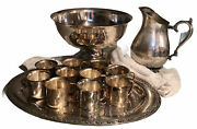 Silver Plated Punch Bowl, 10 Cups, Tray And Wm Rogers Pitcher