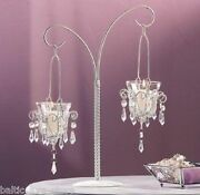 5 Jeweled Hanging Votive Candle Holders On Stands Wedding Table Centerpieces Lot