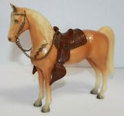 Vintage Hard Plastic Palomino Horse With Saddle And Chain Bridle