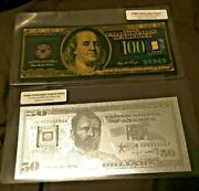 1 Gram 9999 Fine Pamp Suisse Gold Bar And 5 Gram 999 Silver Bar In Souvenir Notes
