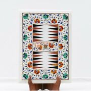White Marble Backgammon Tabletop With Wooden Stand Inlaid Mosaic Art Indoor Game