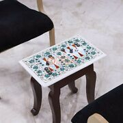 Marble White Top Backgammon Table Inlaid Mosaic Multi Stone Art Indoor Game Deco