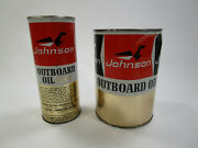 Vintage Pair Nos Johnson 2 Cycle Outboard Motor Oil Lubricant Metal Cans Full