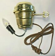 Brass Electric Burner 3-way With Bottom Nite Lite And Brown Cord For Aladdin Lamps