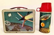 Vintage Thermos Space Astronauts Metal Lunchbox With Vacuum Bottle