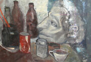 Vintage Expressionist Still Life Bottles Cups Head Oil Painting