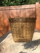 Large Vintage Bamboo Rattan Wicker Basket With Handles 13 1/4 H X 15 1/2 W