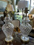 Pair Of Waterford Cut Crystal Table Lamps