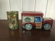 2 Vintage Tin Banks Cherrydale Farms Delivery Van And National Canners Assoc